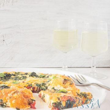 Frittata met spinazie en tomaat