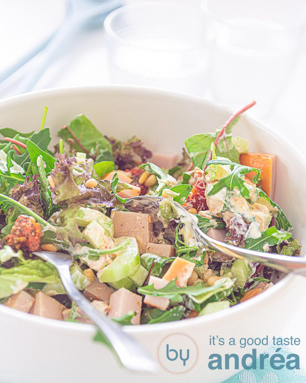 Smoked chicken salad with pesto