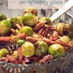 pin spruitjes met spekjes en whiskey glaze in een schaal