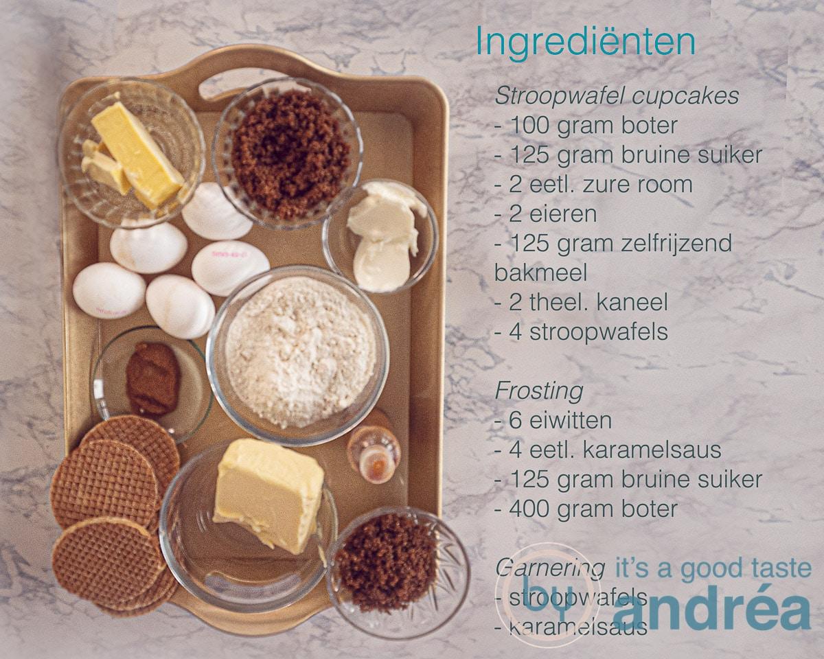Ingrediënten voor stroopwafel cupcakes