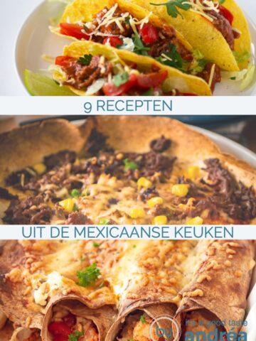 3 foto's onder elkaar met drie Mexicaanse gerechten