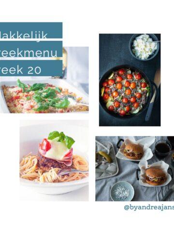 Vier foto's van recepten en de tekst makkelijk weekmenu 20