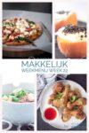 Vier foto's pizza, noedels en kipdrumsticks en een heerlijk toetje voor het weekmenu
