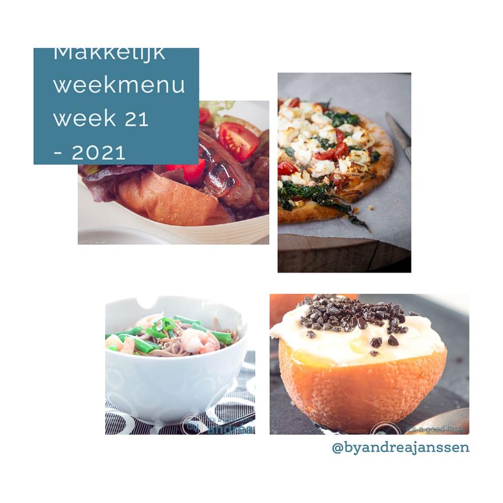 Makkelijk weekmenu 4 recepten in foto's van het weekmenu, noedels, braadworst, pizza en sinaasappel parfait met licor 43