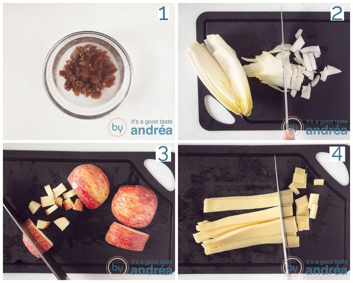 Voorbereidingen ingrediënten snijden in vier stappen
