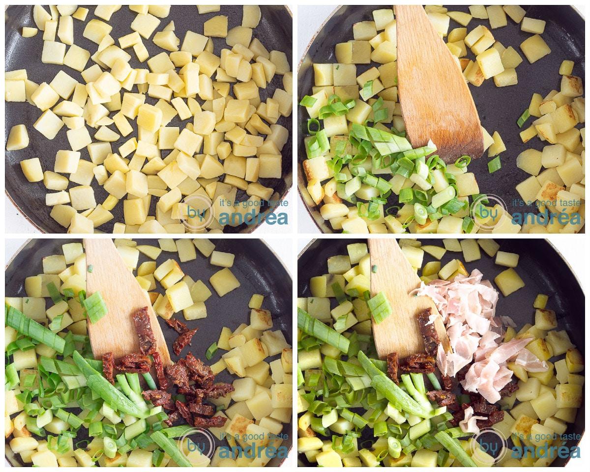 Bak de aardappeltjes aan en meng met de groenten
