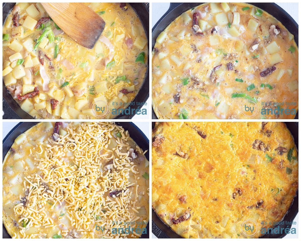 Giet het ei mengsel in de pan en verdeel walnoten en kaas erop. Bak in de oven.