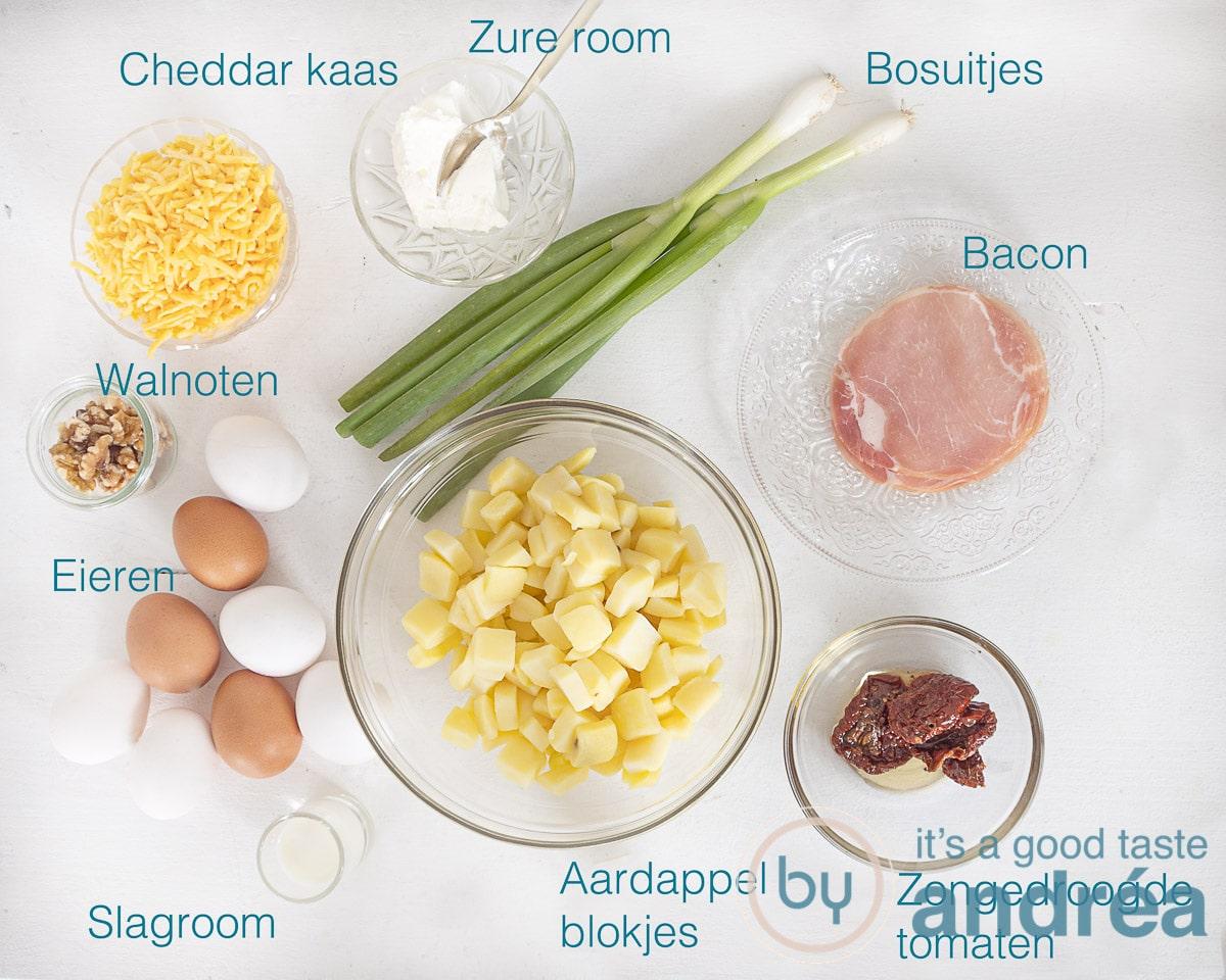 Ingrediënten voor een Spaanse tortilla uit de oven