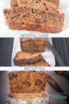 drie foto's met verschilende soorten wortelcake in plakjes
