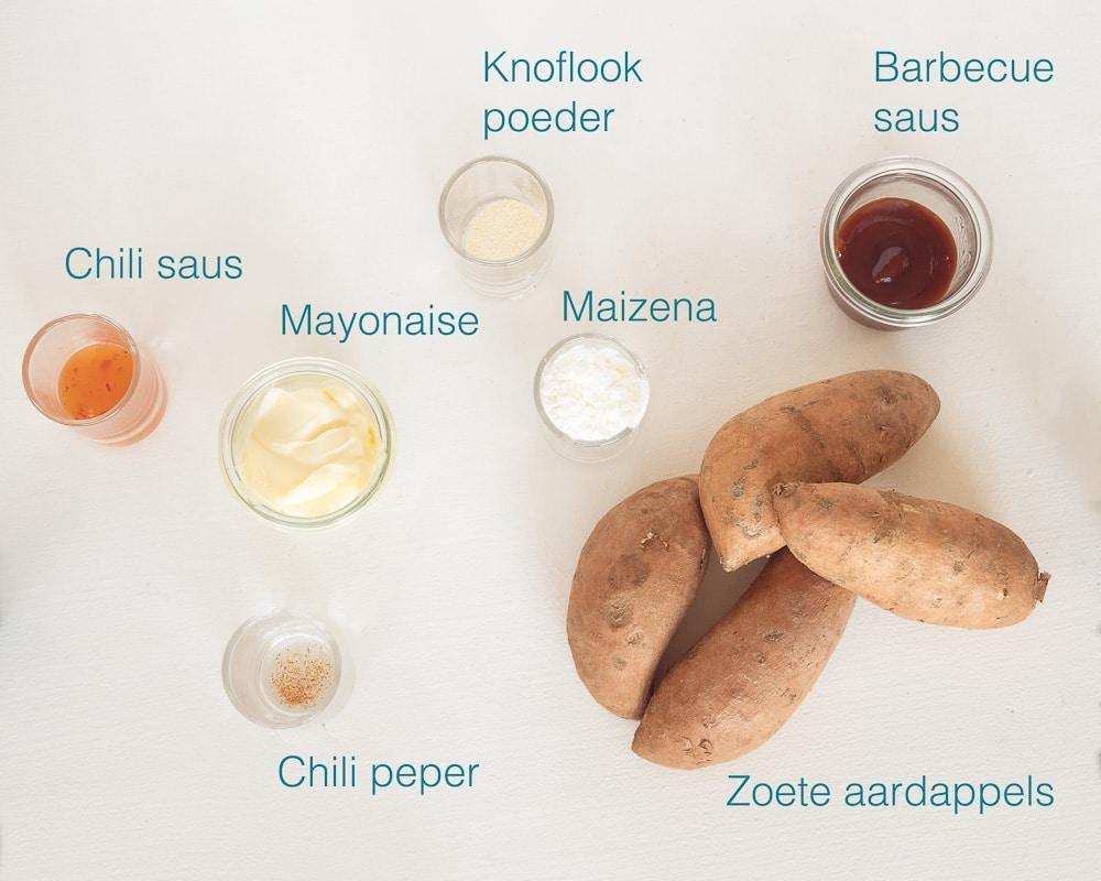 ingrediënten zoete aardappelfriet uit de airfryer