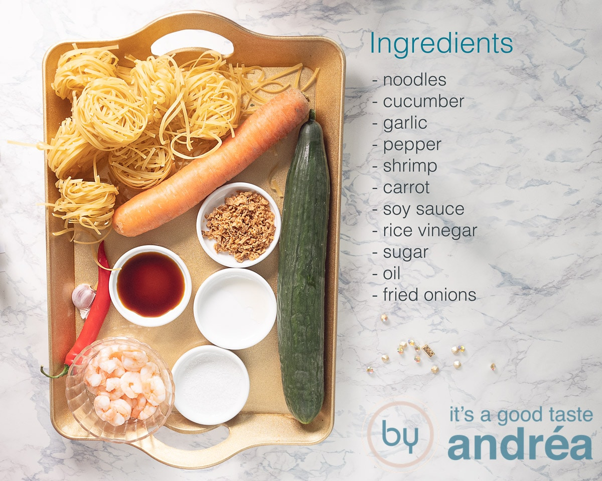 Ingredients for an Indonesian noodle salad