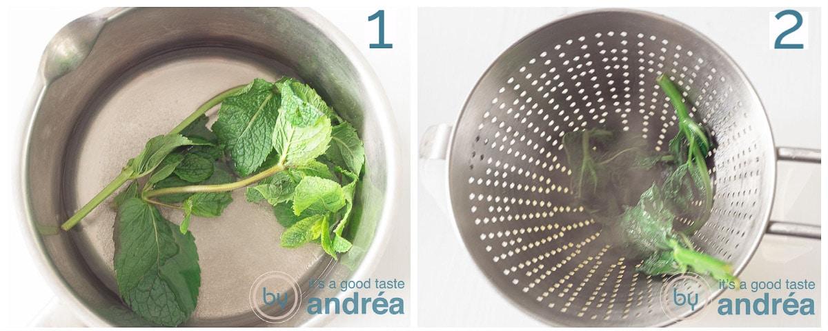 twee foto's munt koken in suikerwater en daarna zeven