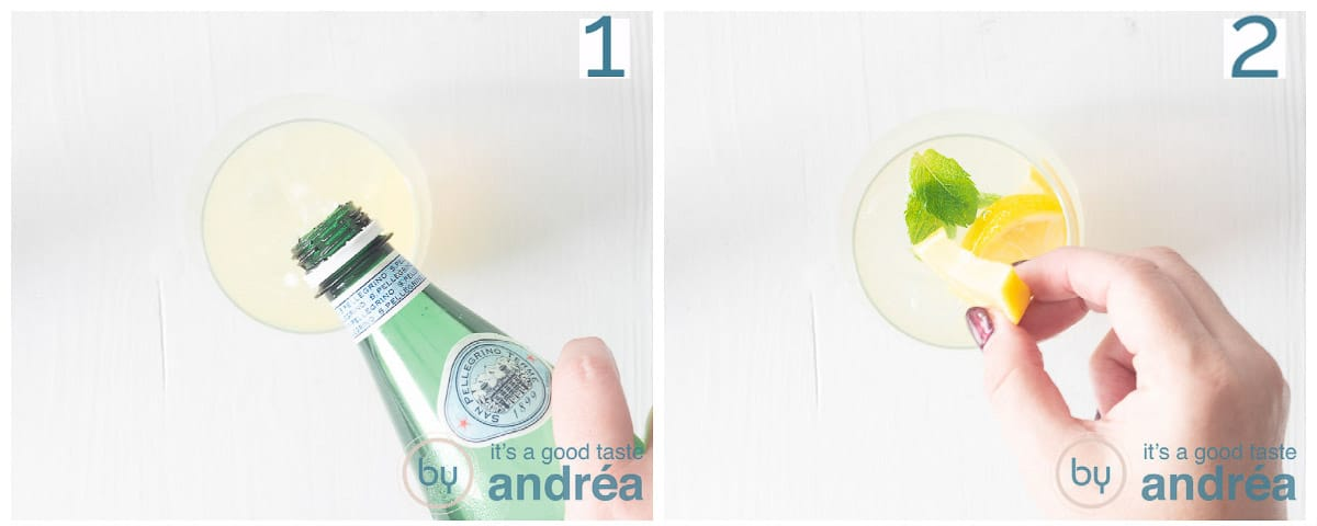 Twee foto's voeg bruisend water en citroen toe aan het glas.