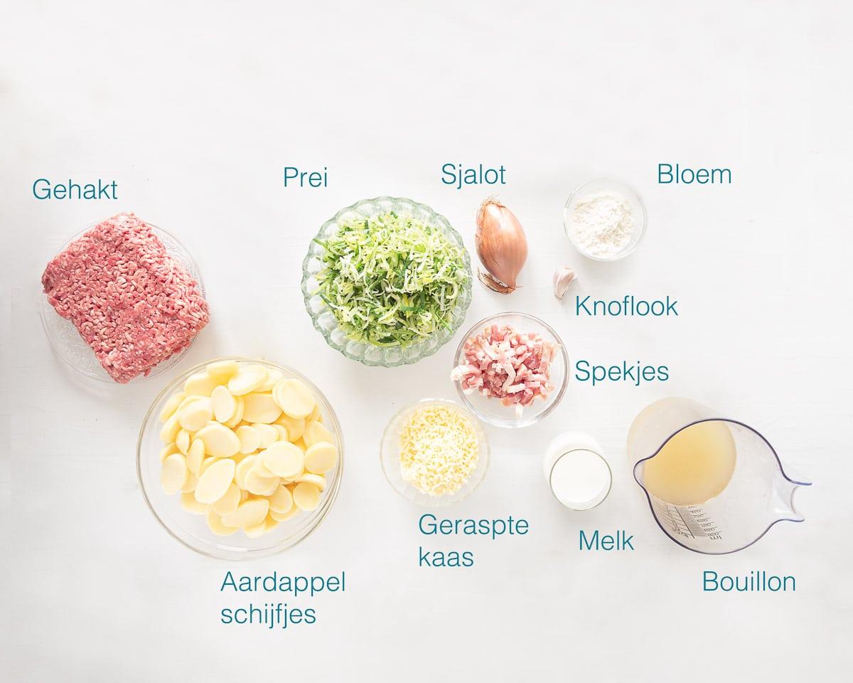 Ingrediënten ovenschotel aardappel anders met gehakt