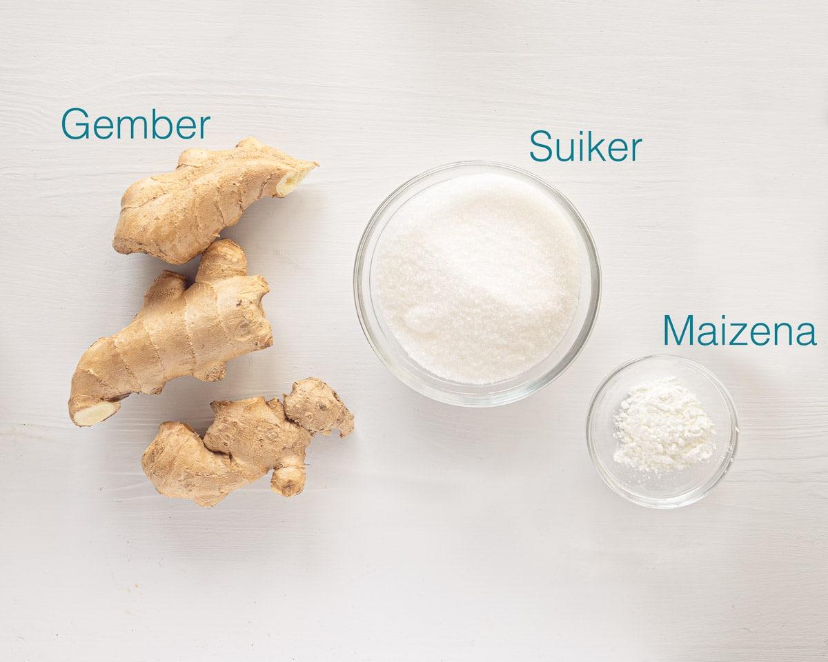 Ingrediënten voor gembersnoepjes
