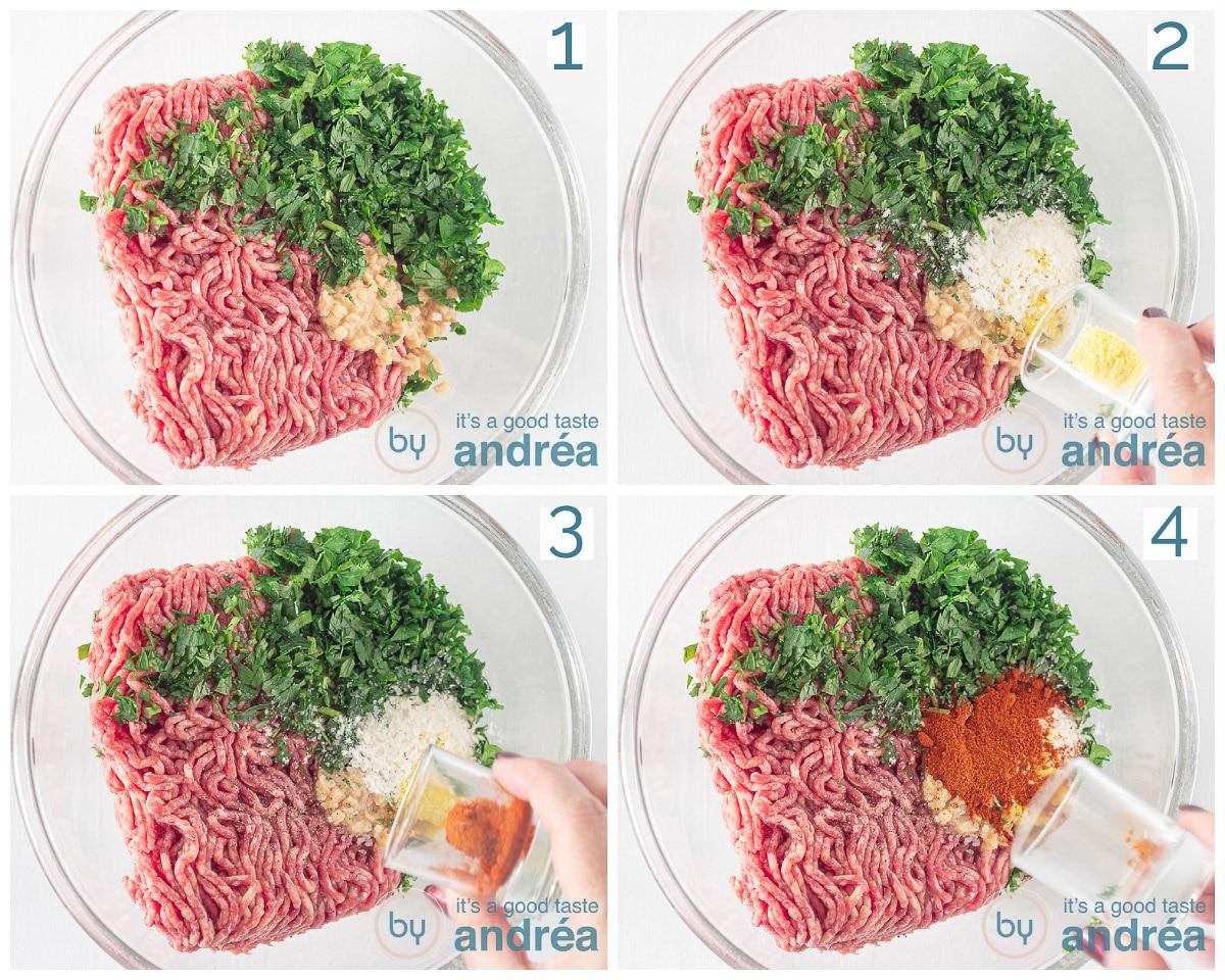 Voeg bij het gehaktmengsel vegetarische, paprikapoeder, bloem, peterselie en knoflook