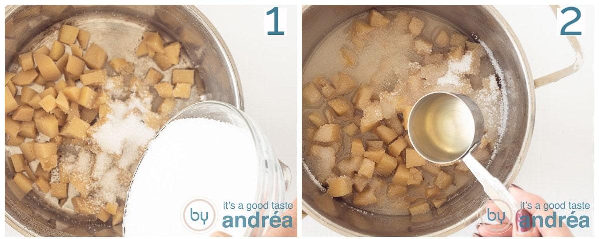 Voeg suiker en gembersap aan de pan toe
