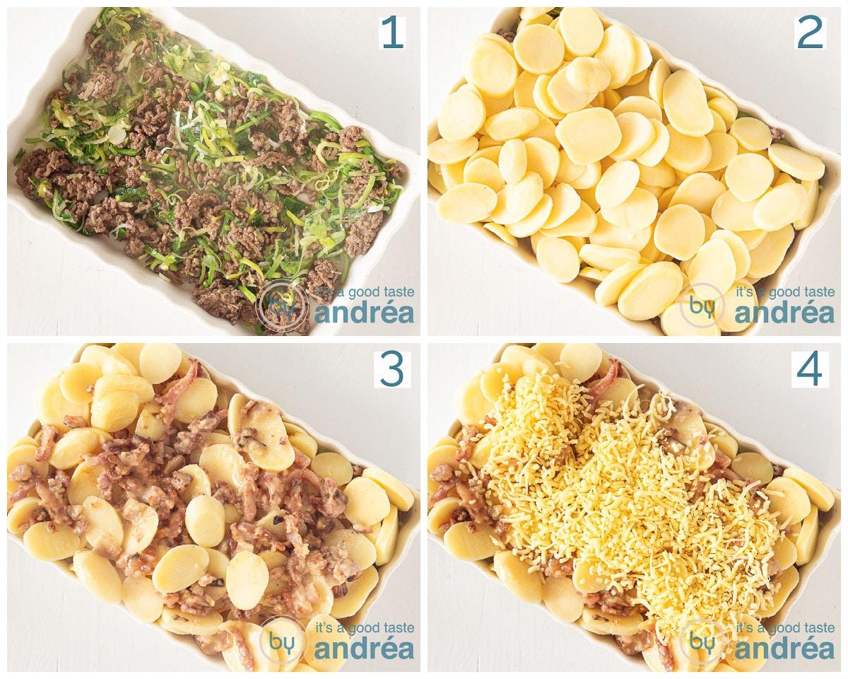 Vul de ovenschaal met prei, aardappels, aardappel anders en geraspte kaas