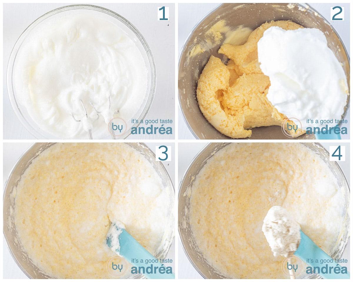 Kom met stijfgeklopt eiwit. Stijfgeklopt eiwit in beslag, bloem aan beslag toegevoegd
