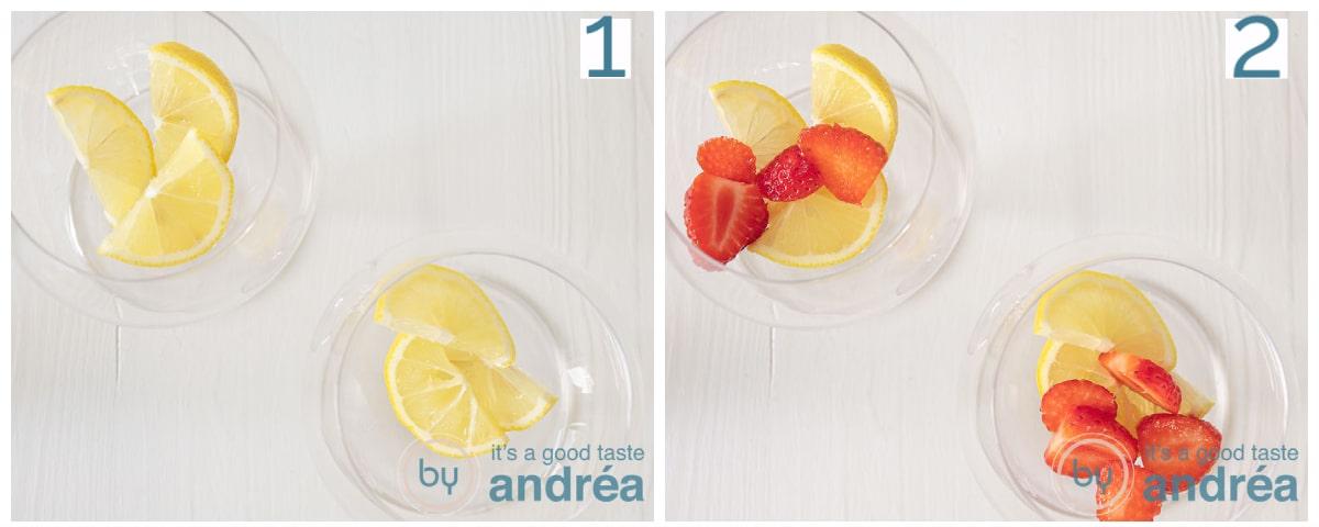 Doe schijfjes citroen en halve aardbeien in de gin glazen