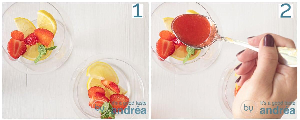 Voeg munt en aardbeiensaus toe aan de gin glazen