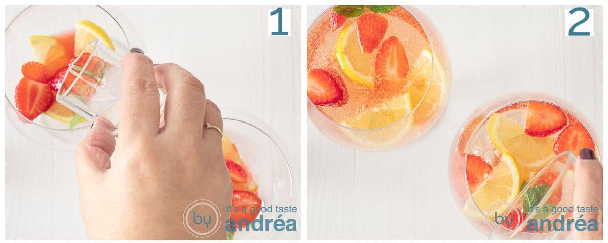 Schenk de gin en sprankelend water in de Gin glazen